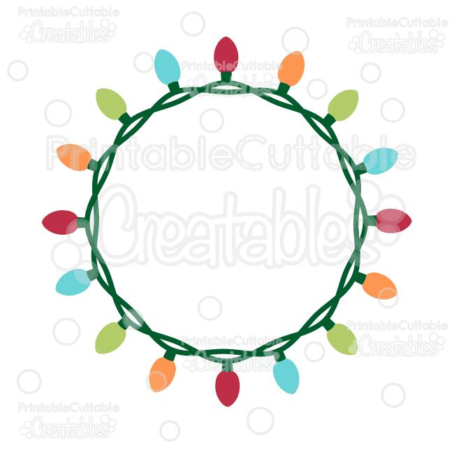 650x650 Christmas Lights Circle Monogram Frame Free Svg Cut File Cricut