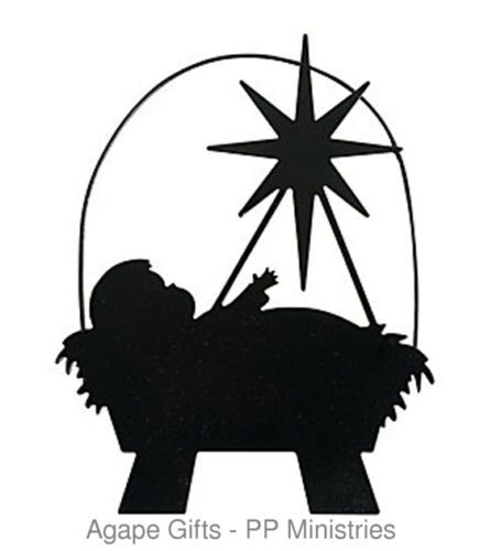 436x500 Fe Otc Christmas Religious Black Metal Ornament Silhouette Baby