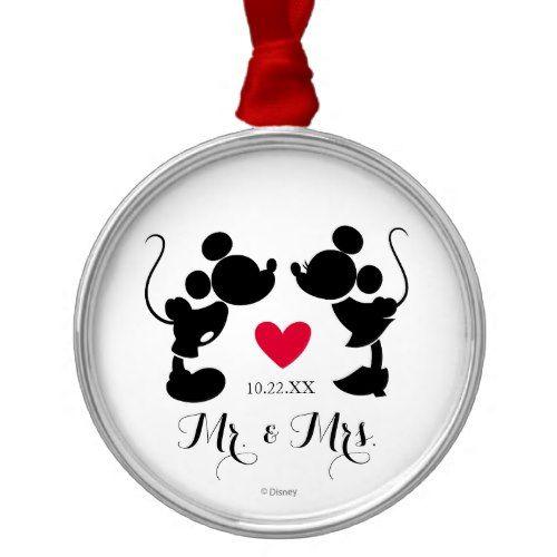 500x500 Mickey Amp Minnie Wedding Silhouette Metal Ornament Popular