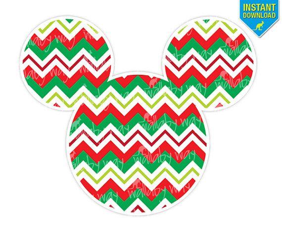 570x456 Mickey Silhouette Christmas Chevron Printable Iron On Transfer
