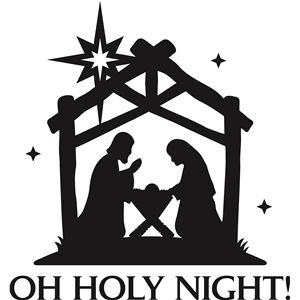 300x300 Oh Holy Night' Christmas Vinyl Phrase Silhouette Design