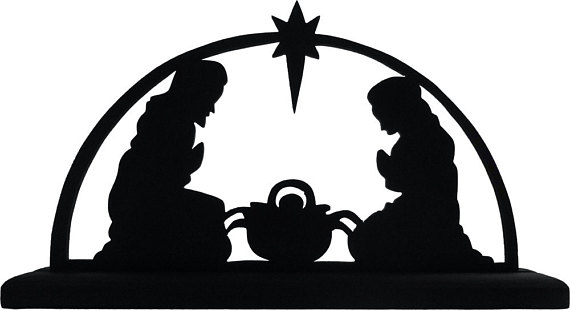 570x311 Nativity Scene Handmade Wood Display Silhouette Great