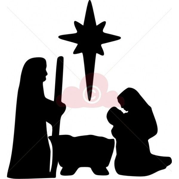 600x600 Nativity Scene Silhouette Pattern Christmas Filigran