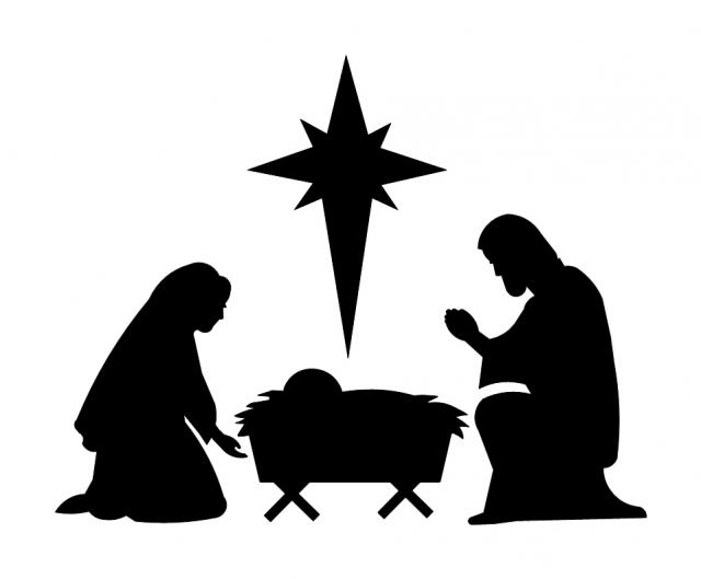 640x529 Nativity Scene In Silhouette