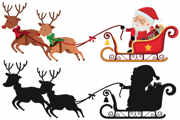 626x418 Christmas Silhouette With Santa And Reindeers Vector Premium
