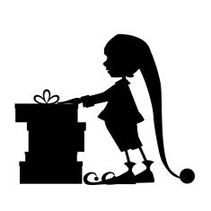 235x235 Elf Silhouette And Christmas Gifts Vector Art Illustration 2016
