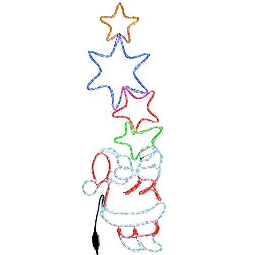 500x500 Werchristmas Santa Holding 4 Star Motif Led Rope Lights Silhouette