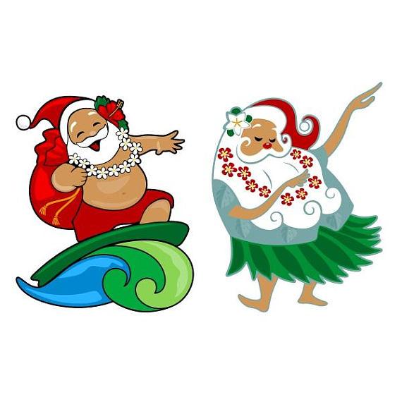 570x570 Santa Claus Christmas Hawaii Beach Surf Cuttable Design Png Dxf