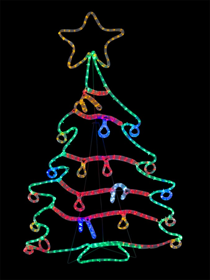 676x900 Christmas Tree With Decorations Led Rope Light Silhouette