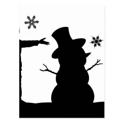 422x422 Kids Making Snowman Christmas Silhouette Scene Postcard