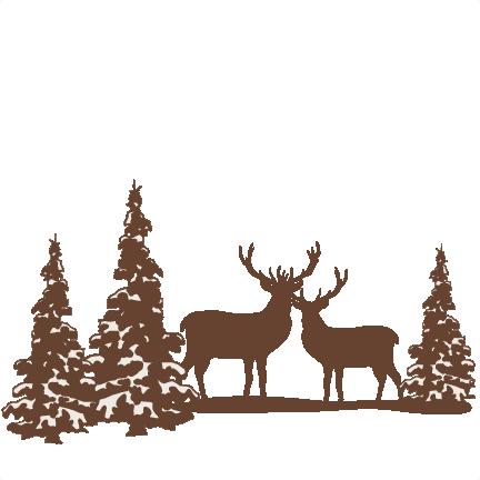 432x432 Reindeer Winter Scene Svg Scrapbook Cut File Cute Clipart Files