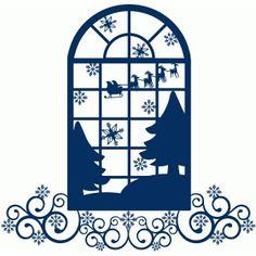 236x236 Silhouette Design Store Christmas Tree Fancy Window Scene Free