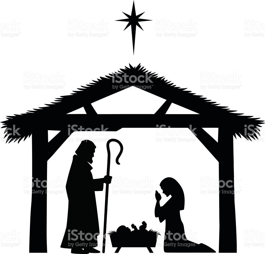 1024x983 A Vector Illustration Of Mother Mary And Baby Jesus Silhouette