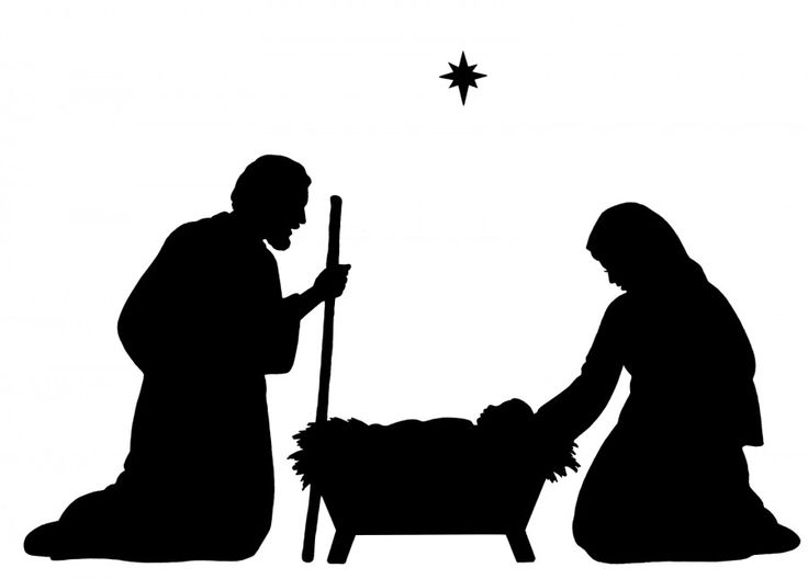 736x528 Nativity Scene Silhouette Christmas Silhouettes Template Merry