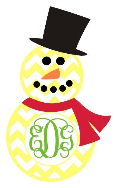 400x641 Chevron Snowman Monogram Frame Svg Silhouette Cameo