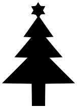 152x212 Christmas Tree Silhouette Star