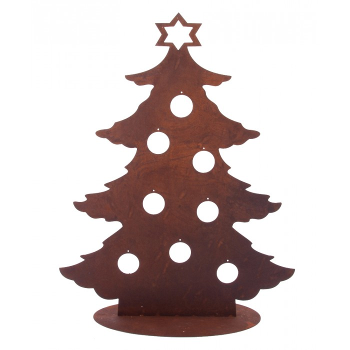700x700 Christmas Tree Silhouette And Candle Holder Black Country Metal
