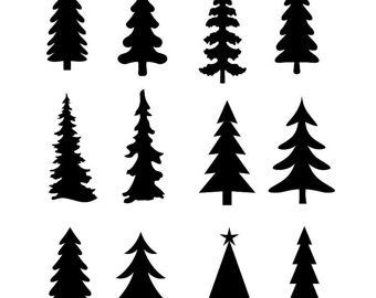 340x270 Evergreen Tree Clipart Black And White