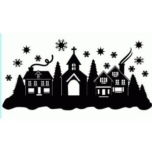 300x300 Christmas Village Silhouette Template