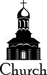 201x320 Black And White Parish Church Illustration With The Silhouette