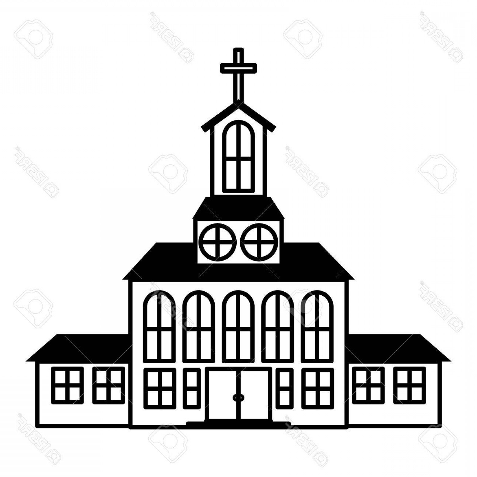 1560x1560 Photostock Vector Silhouette Of Church Building Icon Over White