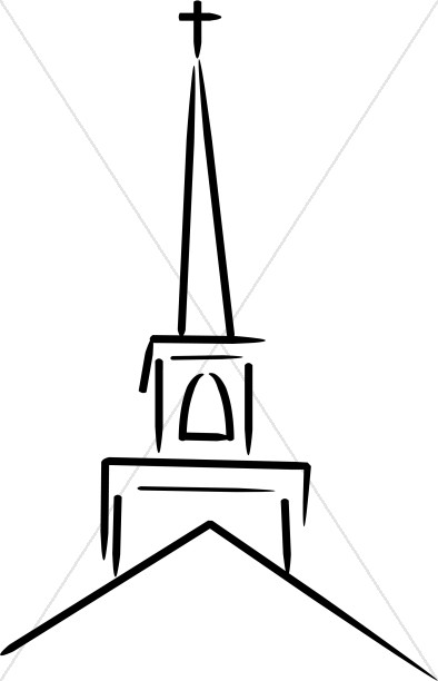 394x612 Church Steeple Topped With Cross Church Clipart