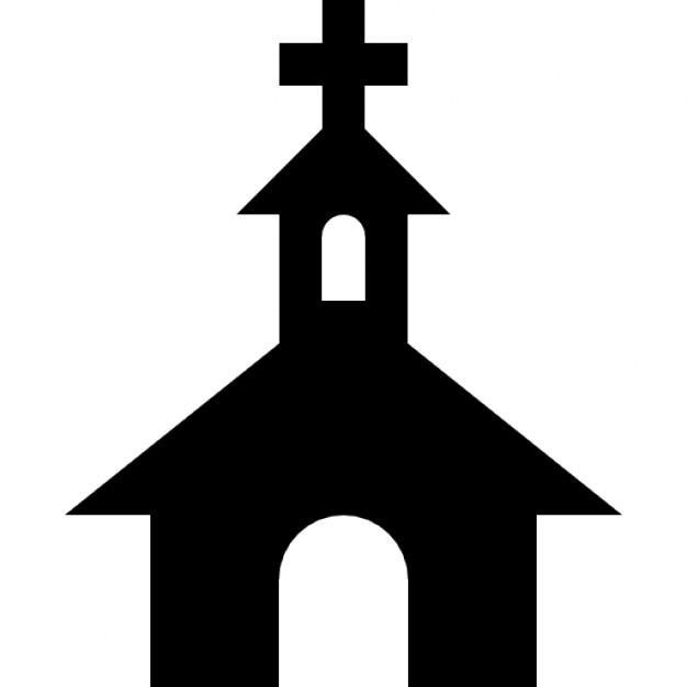 626x626 Church Black Silhouette With A Cross On Top Icons Free Download
