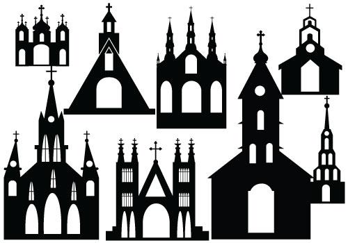500x350 Silhouette Clipart Church