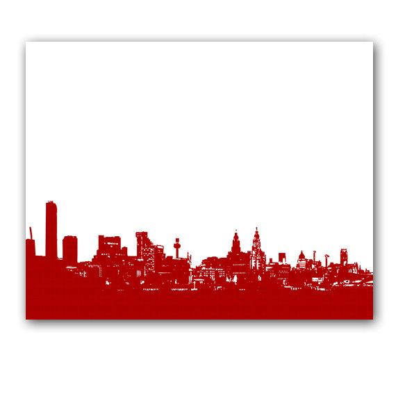 570x570 Liverpool Skyline In Red Fine Art Print Modern Decor Wall Art