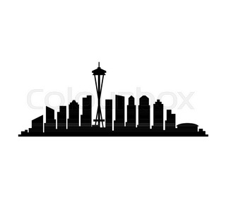 320x280 Seattle, Washington Skyline Detailed Vector Silhouette Stock