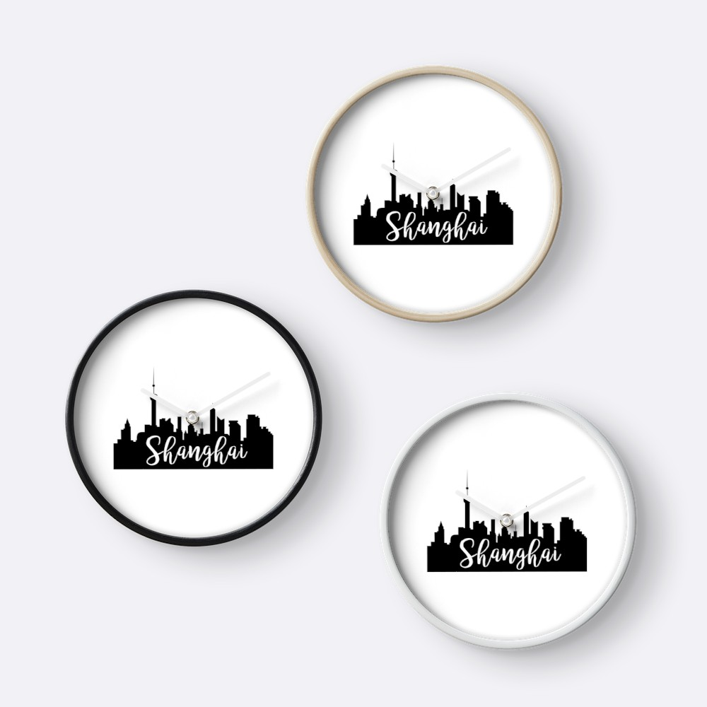 1000x1000 Shanghai, China City Skyline Silhouette Clocks By Ashleylcoop