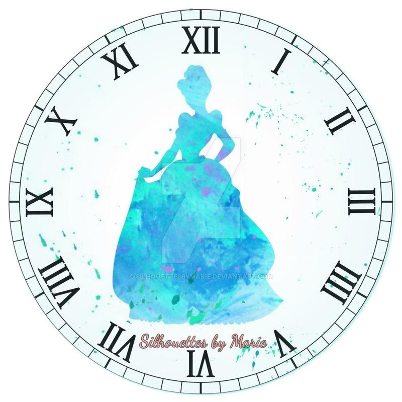 800x799 Cinderella Watercolor Clock By Silhouettesbymarie