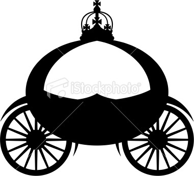 380x344 Cinderella Carriage Silhouettes. Princess Crown Stock Images