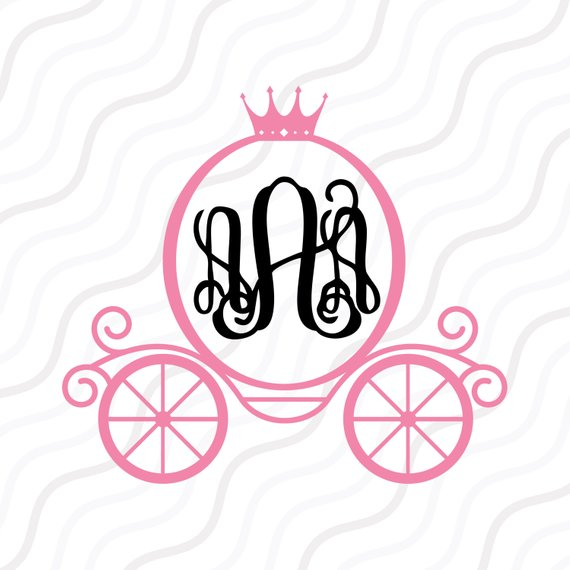570x570 Princess Carriage Monogram Svg, Princess Monogram Svg Cut Table