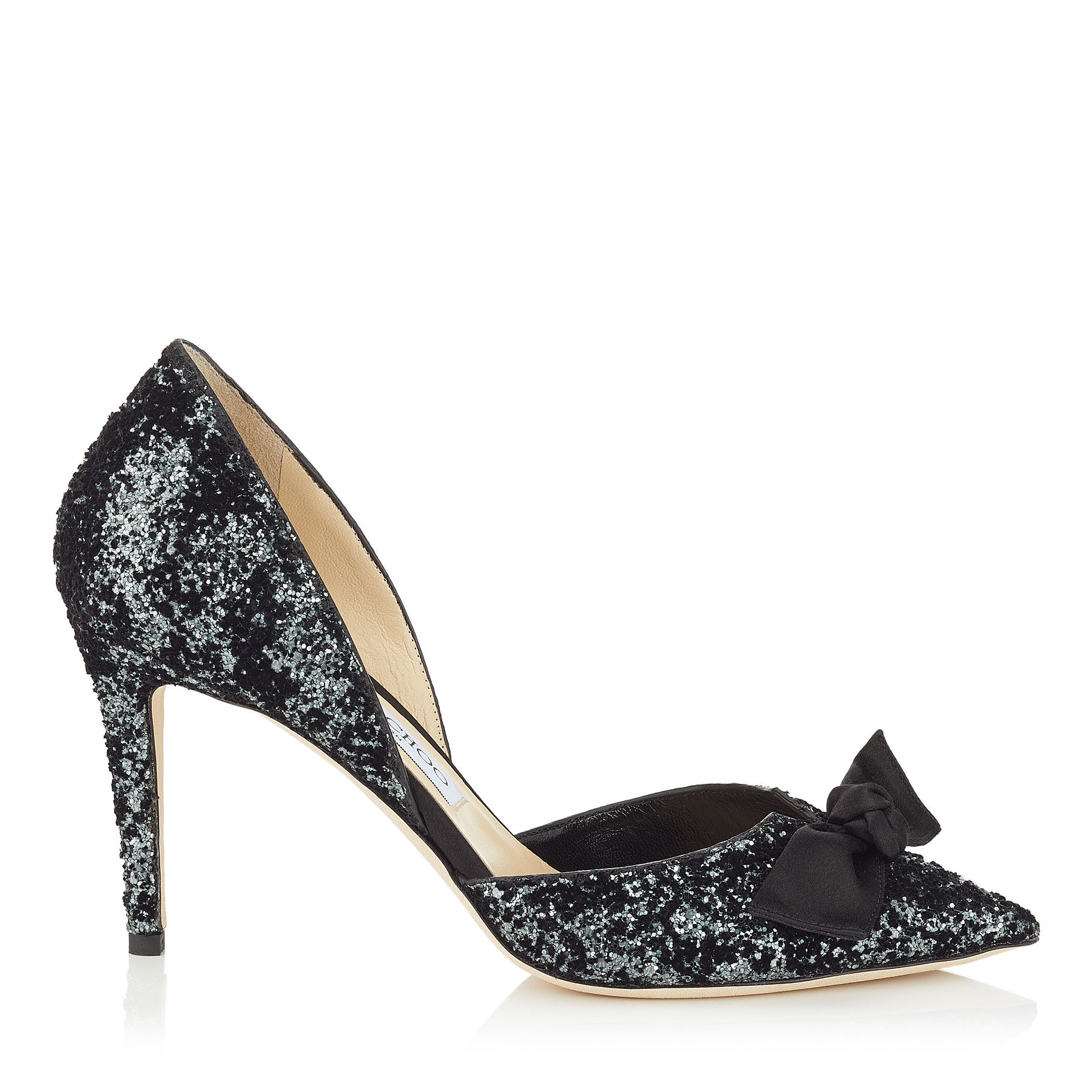 1800x1800 Anthracite Velvet Glitter And Black Satin Pointy Toe Pumps
