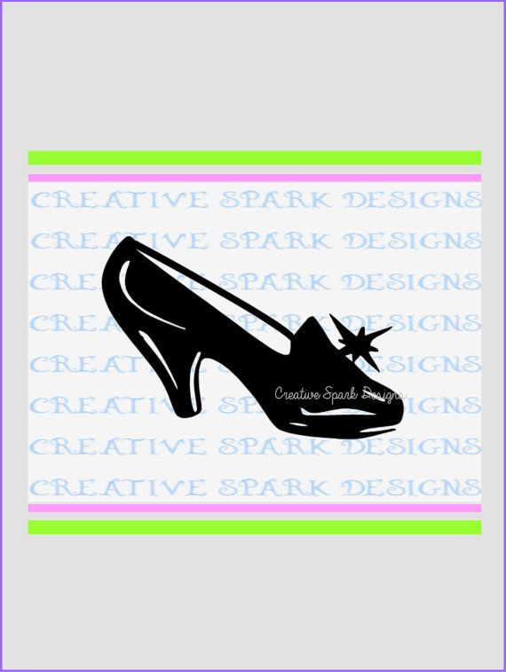 570x757 Cinderella's Glass Slipper Svg, Dxf, Png Download For Die Cutting