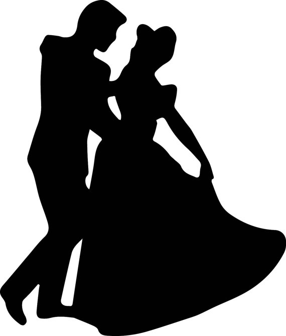 570x669 Cinderella And Prince Charming Silhouette Instant Download Svg Diy