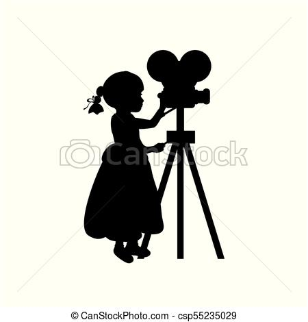 450x470 Silhouette Girl Makes Movies Film Camera. Vector Vector