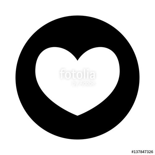 500x500 Heart Icon. Black Round Icon Isolated On White Background. Round