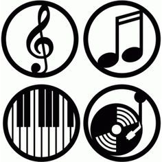 236x236 Music Circle Labels Circle Labels, Silhouette Design And Silhouettes