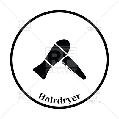 400x400 Thin Circle Silhouette Of Hairdryer Icon Royalty Free Vector Clip