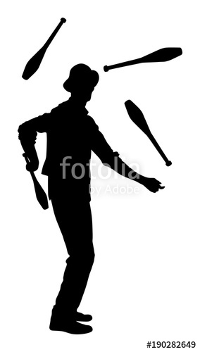284x500 Juggler Artist Vector Silhouette, Juggling With Pins. Clown