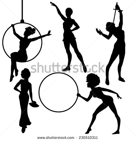 450x470 Acrobats Silhouettes Circus Performers Stock Photos, Images
