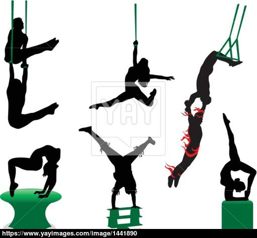 512x474 Acrobats And Jugglers Silhouette Vector