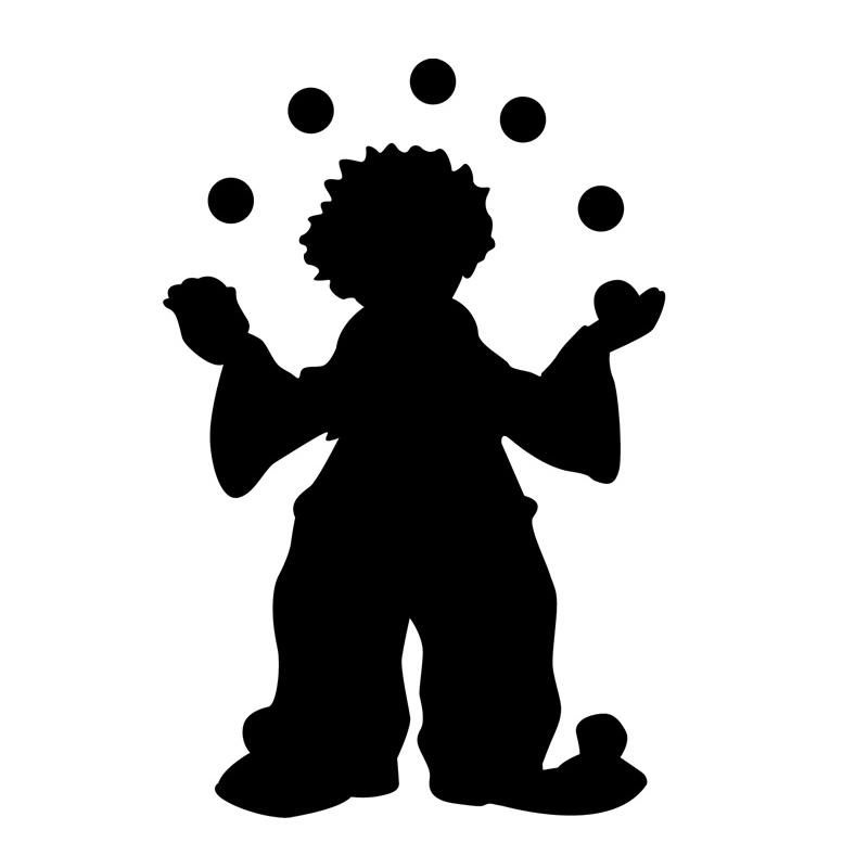 800x800 Circus Clown Juggling Wall Sticker Boys Bedroom Decorative