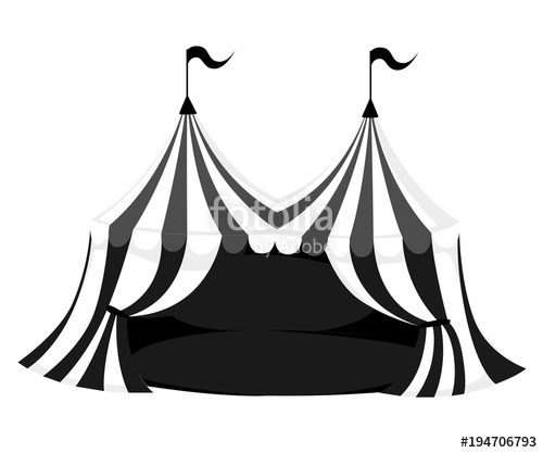 500x417 Silhouette Of Circus Or Carnival Tent With Flags And Red Floor
