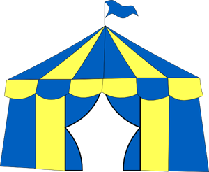 300x246 Yellow Amp Blue Circus Tent Png, Svg Clip Art For Web