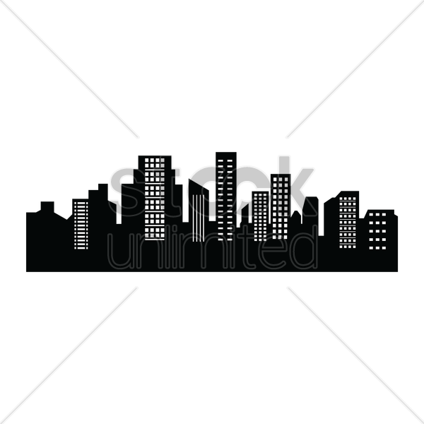 600x600 City Silhouette Vector Image