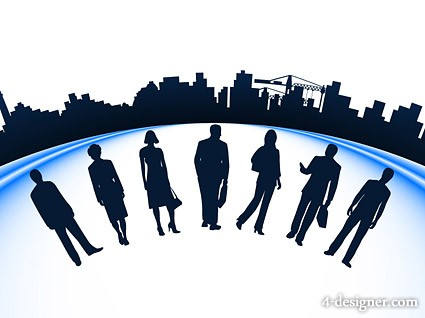 425x318 4 Designer Business Figures With City Building Silhouette Vector