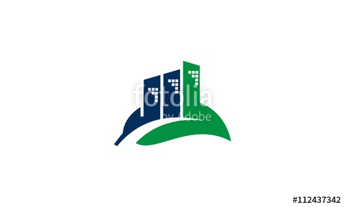 500x300 Green Leaf With Blue City Buildings Silhouette. Vector Logo